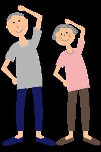 体操する老夫婦のイラスト