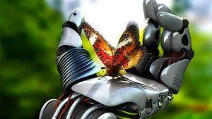 ロボットの手と蝶