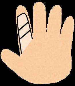 包帯巻いてる指